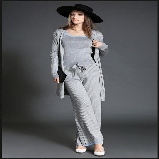 2016 autumn women  clothing sets Camisole + wide leg pants + long cardigans 3pieces Female fashion elegant knitted suit