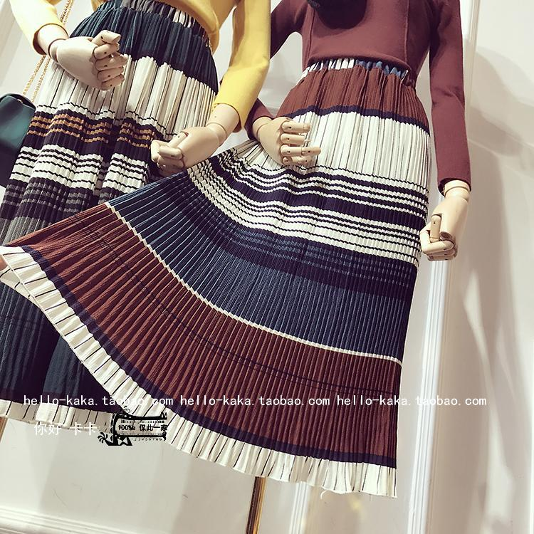 2016 Real Cotton Polyester Lanon England Style Striped Saia Leather Skirt 2017 New Spring Stripe High Waist Skirt A Word Female