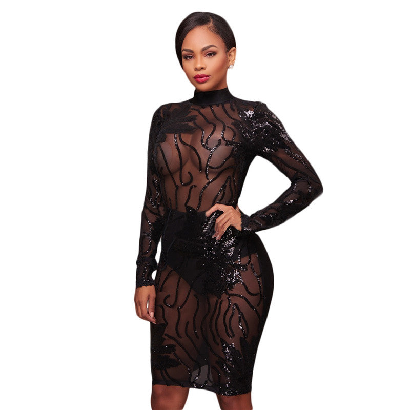 Women Long Sleeve Black Sequin Dress Sexy Mesh See Through Backless