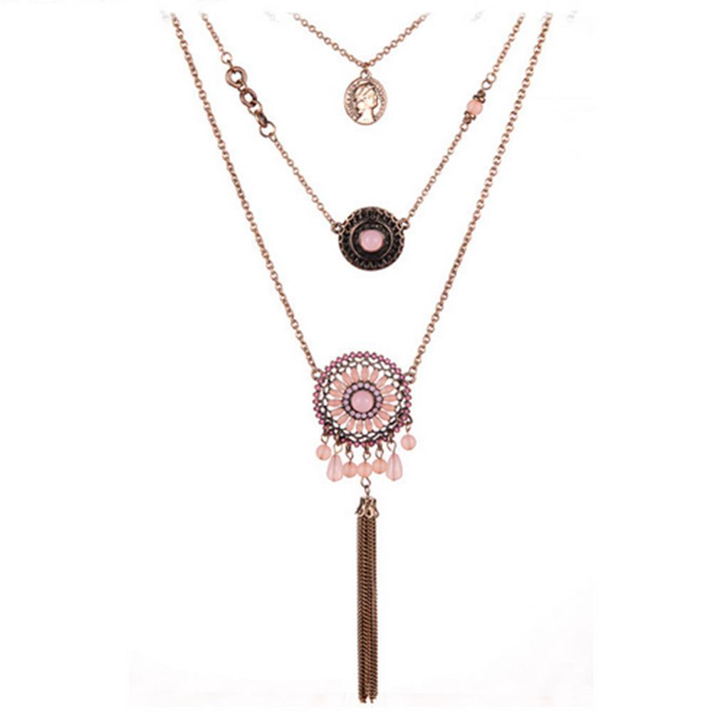 2015 New Fashion fine jewelry tassel necklace statement Jewelry exaggerated strass long necklace chain jewelry section 3 layer Necklace