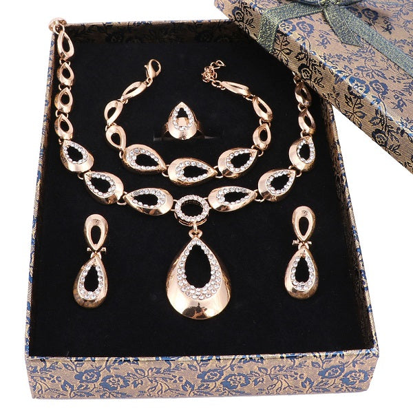 Elegant Luxury Design New Fashion Gold Color Blue Austrian Crystal Necklace Earring Wedding Accessories Royal Blue Jewelry Set