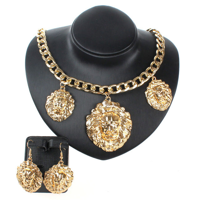 5b258cca1715f3 3pcs Lion Head Pendant Chunky Gold/Chain Necklace Statement Jewelry Fashion  Women Accessories Collar Maxi. Hover to zoom