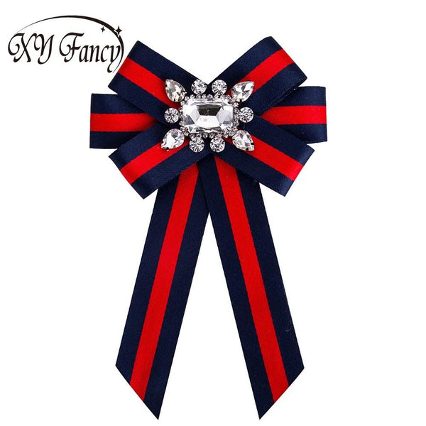 XY Fancy Women Crystal Bow Brooches Collar Pin Jewelry Canvas Fabric Bowknot Brooch for Women Dress Shirts Accessories ZK25