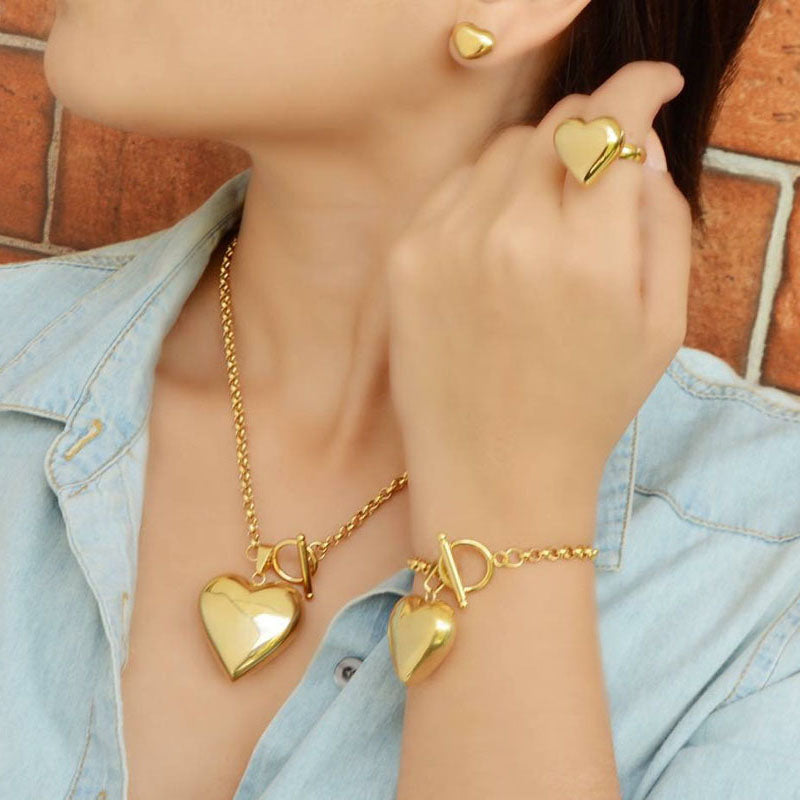 Gold/Silver Stainless Steel Jewelry Sets, Heart Pendant Necklace Earrings Ring Bracelet Wedding Jewelry