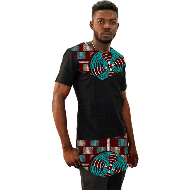 African men's shirts short sleeve summer tops black patchwork prints  dashiki shirts man African outfits customized