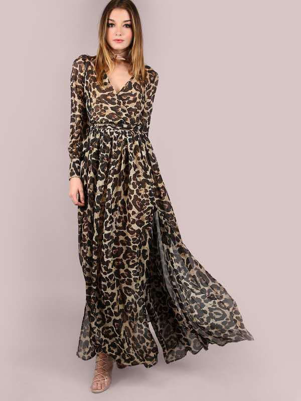 87dc7ca4ef7c Hover to zoom · Fashion Autumn Chiffon Long Dress Women Clothing Sexy Deep  V Long Sleeve Leopard Print Streetwear Maxi