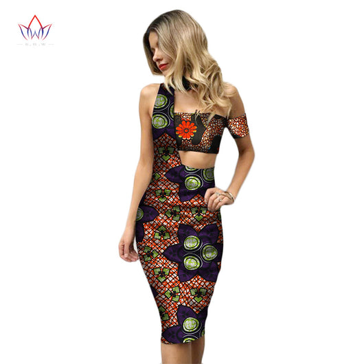 Summer 2018 New Design Africa Wax Print 2 Pieces Skirt Set Women African Bazin Riche Plus Size Clothing Custom Suits WY2402