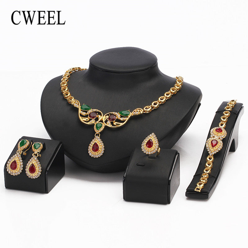 New Fashion Jewelry Sets Women Jewelry Gold Color Imitation crystal Jewellry Sets For Bride Wedding Jewelry Set
