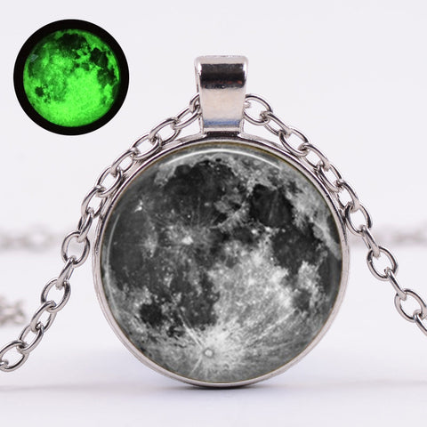 Moon Choker Necklace Glass Cabochon Pendant Necklaecs for Women Night Light Luminous Necklaces Women Jewelry Gift-Freeowame1