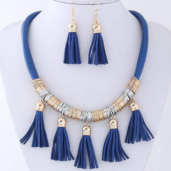 2017 new bohemian necklace earrings set tassel pendant vintage collar boheme women necklace bijoux femme