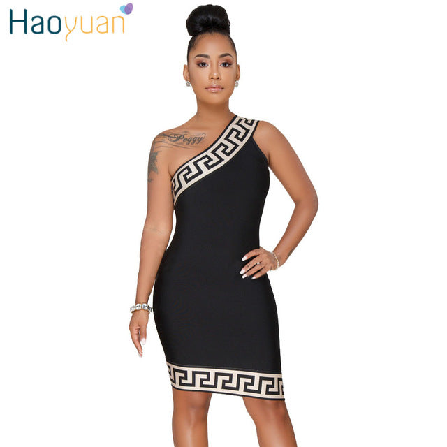 eb5b6c44009b HAOYUAN Plus Size Women Bodycon Dress 2018 New Summer Sundress Fashion  Party Dresses Vestidos One Shoulder. Hover to zoom