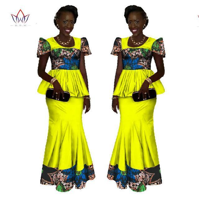 2017 African Women Clothing Brand African Vestido 6XL Wax traditional african clothing 2 pieces for Women Skirt Set BRW WY1080