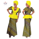 Summer skirt set o-neck african Embroidery clothing traditional bazin print Bazin Riche plus size skirt set evening dress  WY184