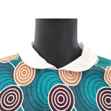 African spring dress for women, LONG sleeve peter pan collar knee-length cotton dress