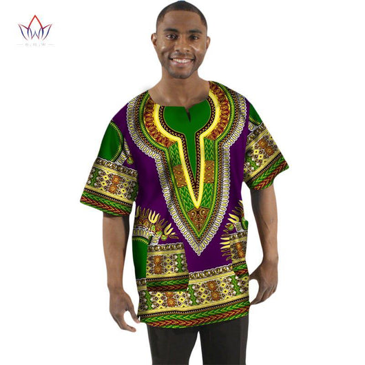 2017 Traditional African Clothing Print Wax T-shirt Men Short Sleeve Print Men Dashiki V-Neck Tops Hot Sale BRW WYN74
