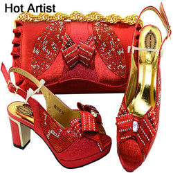 Hot Artist Fashion Elegant Women's Summer Sandal Red Color Shoes And Bag Set Italian Shoes With Matching Bags For Party MM1059