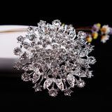 WEIMANJINGDIAN Hot Selling Large Size Sparkling Crystal Rhinestones Flower Brooch Pins for Women or Wedding Bouquets