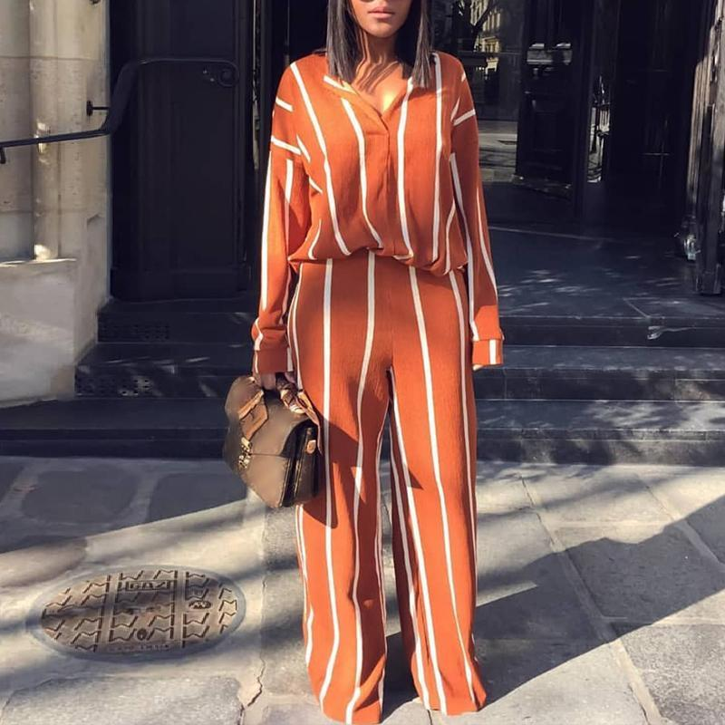 2018 New Fashion Stylish Casual Shirt Top&Pants Suit Sets Fashion Striped  Print Leisure Blouse&Pants Set