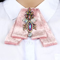 ZHINI Luxury Bow Brooches For Women Shirt Dress Fabric Velvet Bowknot Tie Corsage Broche Rhinestone Brooch Pins Wedding Jewelry