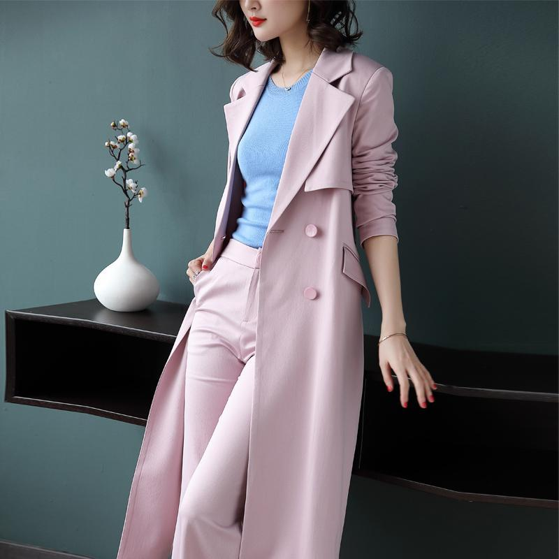 2 Pieces Blazer Suits Office Lady Custom Made Tailor Suit Long Trench Coat and Wide Leg Pants Suit