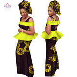 African Dresses for Women 2018 Dashiki Off the Shoulder Africa clothing Set & Headtie Traditional African Clothing WY1985