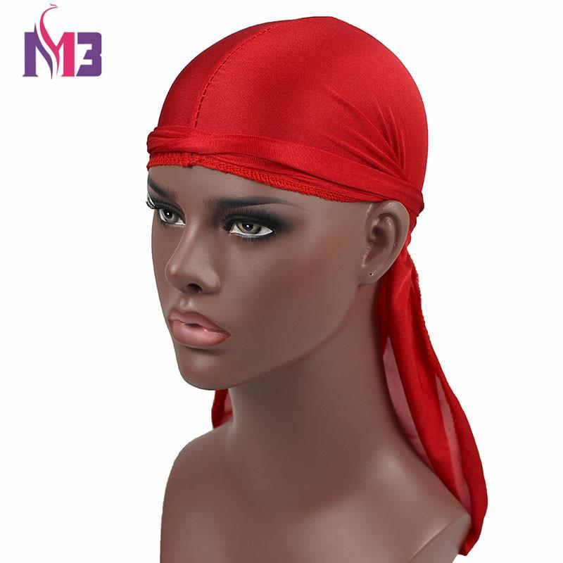 2017 Unisex Men Women Satin Breathable Knitted Bandana Hat Turban Hat Lacing Bandanas Wigs Doo Durag Biker Headwear Pirate Hat