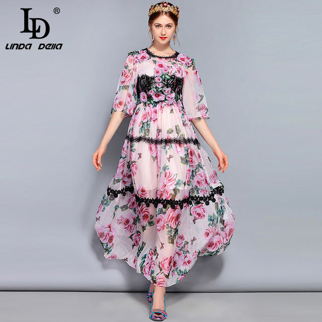 8911e071491 LD LINDA DELLA New Fashion Runway Maxi Dress Women s Flare Sleeve Elegant  Lace Rose Floral Print. Hover to zoom