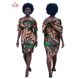 African Dashiki Wax Print Dresses for Women Slash Neck  Puff Sleeve Party Dress African Bazin Riche Dresses for Women WY1014