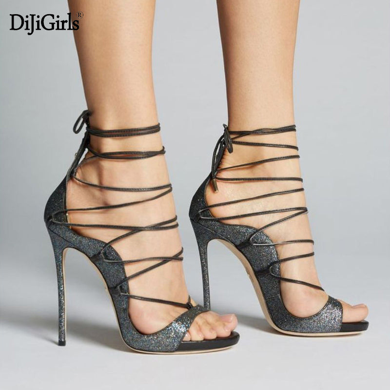 Summer ladies sandals sexy strappy heels fashion peep toe black shoes for  women cross lace up 00e2ae6784ef