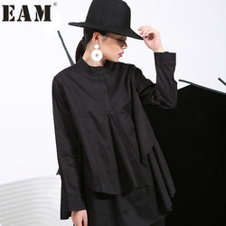 [EAM] 2018 Spring Plus Size Long Shirts Women Blouses Long-sleeve White Loose Tops Black White Cotton Shirt Big Size C006111