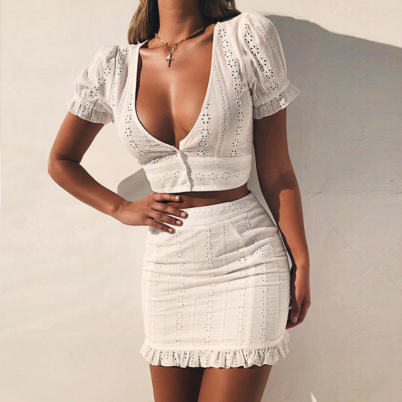 1a1e6746c3 2018 Summer White Lace 2 Piece Set Women Casual Sets Sexy Low Cut V Neck  Crop. Hover to zoom