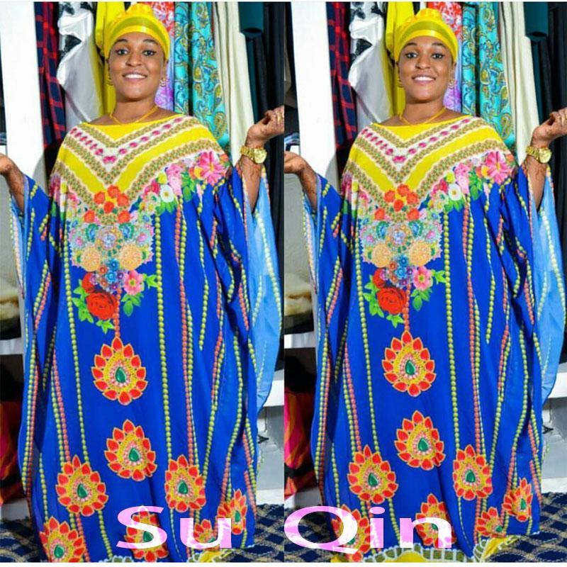 2017 New Fashion Chiffon Super Size African Loose Long Dashiki Traditional Dress For Lady