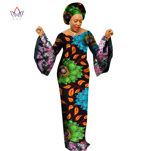 African-Dresses-for-Women-plus-size 2018 Dashiki Lace Patchwork Traditional African Clothing Flare Sleeve Party Dress WY1402