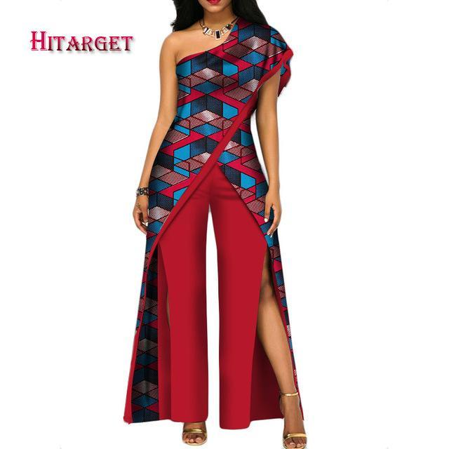 2017 New Autumn African Jumpsuit For Women Sexy Off Shoulder Jumpsuit Dashiki Clothing Batik Wax Printing Pure Cotton Wy2373