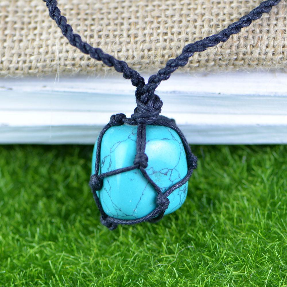 1 Pcs Turquoese Macrame Necklace Hemp String Natural Hippie Men Interchangeable Stone Pendant Jewelry B065 30*60mm Dropship