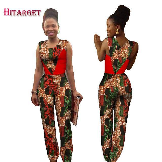 f192b8a66a01 ... 2017 Autumn Africa Cotton Wax Print Romper African Bazin Riche Sexy  Jumpsuit For Women Dashiki Hanging ...