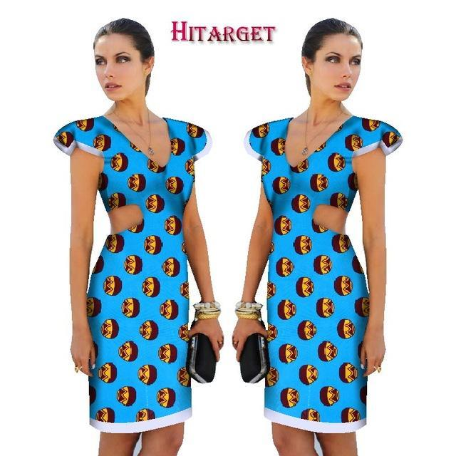 2017 New African Dresses for Women Ankara Wax Printing Fabric Batik Dresses Fashion Printing Short Sleeve Dress Clothing WY1508