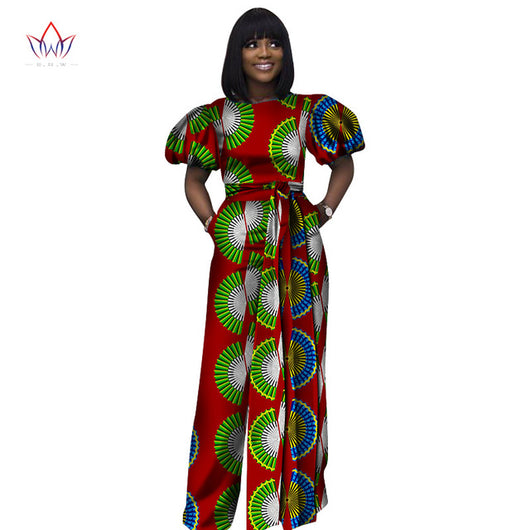 african women jumpersuit with print sexy overalls women jumpsuit elegant o-neck dashiki pants plus size short sleeve 5xl WY2680