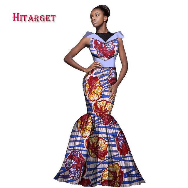 2017 New Fashion African Dress for Women Maxi Dress Mermaid Sleeveless Dashiki Dress African Print Traditional Clothing WY1655