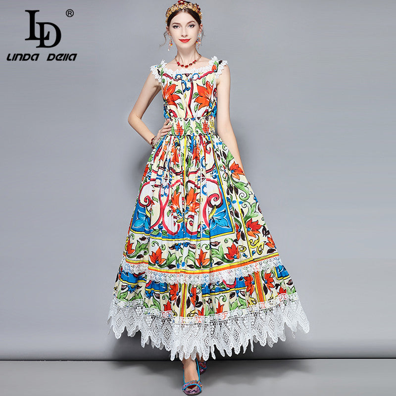 d469fd4eb8b Hover to zoom · LD LINDA DELLA Fashion Designer 100% Cotton Maxi Dress  Women s Gorgeous Floral Print Lace Patchwork