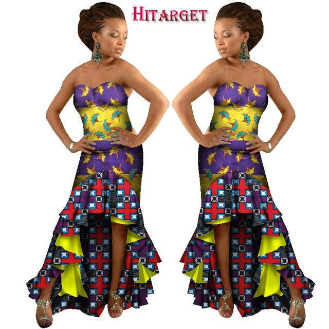 2017 African Mermaid Multiple Layers Dresses for Women Autumn Vintage Maxi Dashiki Dress african bazin women clothing WY1204