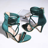 2018 Summer Sexy Women 10cm High Heels Sandals Plus Size Wedding Velvet Heels Strappy Pumps Scarpins Stiletto Bridal Green Shoes