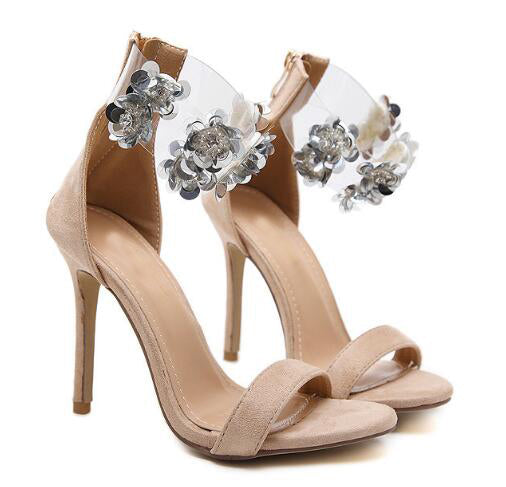 64a0b5b53aea ... TINGHON New hot Women Gladiator Crystal flowers sequins Sandals Woman  Sexy fashion shoes 11cm High heels