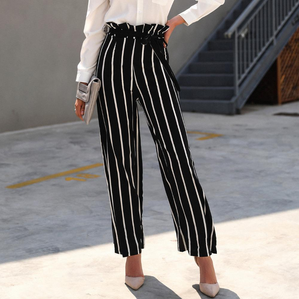 2018 Summer Hot Fashion Breathable Loose Black And White Stripe Bow Sexy Lady High Waist Frill Wide Leg Pants Women's Clothing Bottoms