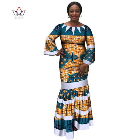 2018 new african women bazin dress Dashiki african print dresses for women cotton women o-neck clothing 6xl 5xl natural WY3173