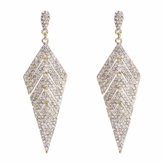 Qiaose Vintage Shiny Rhinestone Alloy Dangle Earrings for Women Fashion Jewelry Boho Maxi Collection Earrings Accessories