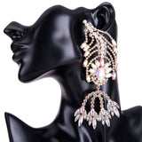 Qiaose 2018 New Fashion Shiny Rhinestone Fish Style Earrings For Women Statement Dangle Earrings Jewelry Accessories Hot Sales