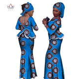 2018 Africa Style Two Piece Skirt Set Dashiki Elegant Clothing Ruffles Sexy Crop Top and Skirt Women Sets for Wedding WY1057