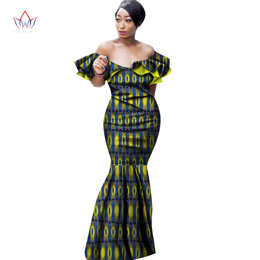 Summer Maxi Dress African Dresses for Women Slash Neck Dresses Women Strapless Vestidos Elegant Printed Clothing Unique WY2532