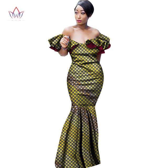 723a9e18b Hover to zoom · Summer Maxi Dress African Dresses for Women Slash Neck  Dresses Women Strapless Vestidos Elegant Printed Clothing